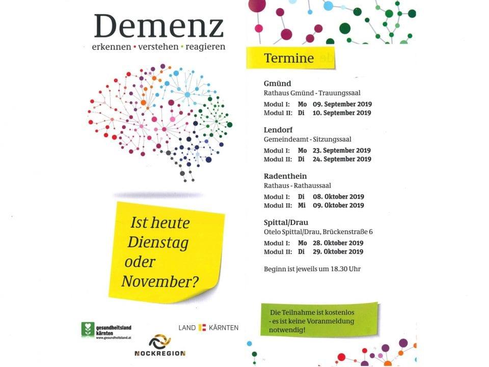 Termine für die Vortragsreihe zum Thema Demenz